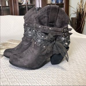 Not Rated Gray Booties Ankle Boots Bows & Bling